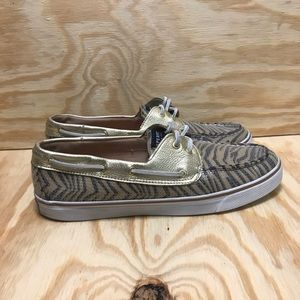 Sperry Top Sider Gold Zebra Sequin Boat Shoes